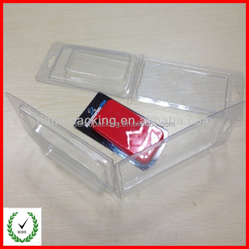 Disposable Plastic Clamshell Package with paper insert on back