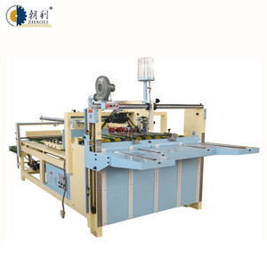 semi automated box folding gluing pasting making machine price for corrugated boxes
