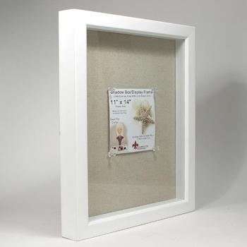 Clear Acrylic White Wood Shadow Box Wholesale With Linen Inner Buy