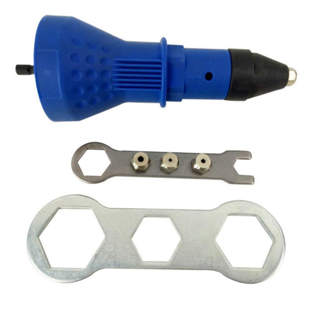 Detectoy Riveter Gun Rivet Tool Kit, Electric Rivet Nut Gun Drill Adapter Kit Riveting Tool, Cordless Riveting Insert Nut Power Tool, Professional Rivet Gun Kit Hand Tool Accessories