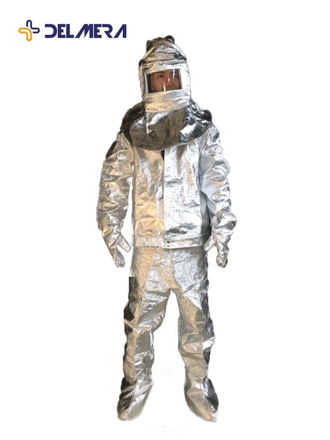 0fb336f0213 Get Quotations · Delmera Aluminized Flame Resistant 500℃ Safety Fire Work  Suit Fire Resistant Coverall Heat Protective Clothing