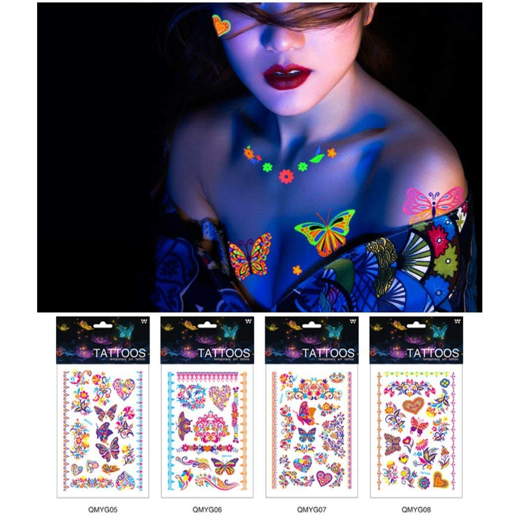 d6a9c32d46f16 Get Quotations · Auch Sexy Temporary Tattoos for Women, Waterproof  Butterfly Tattoos, Fluorescent Tattoos Stickers for Night