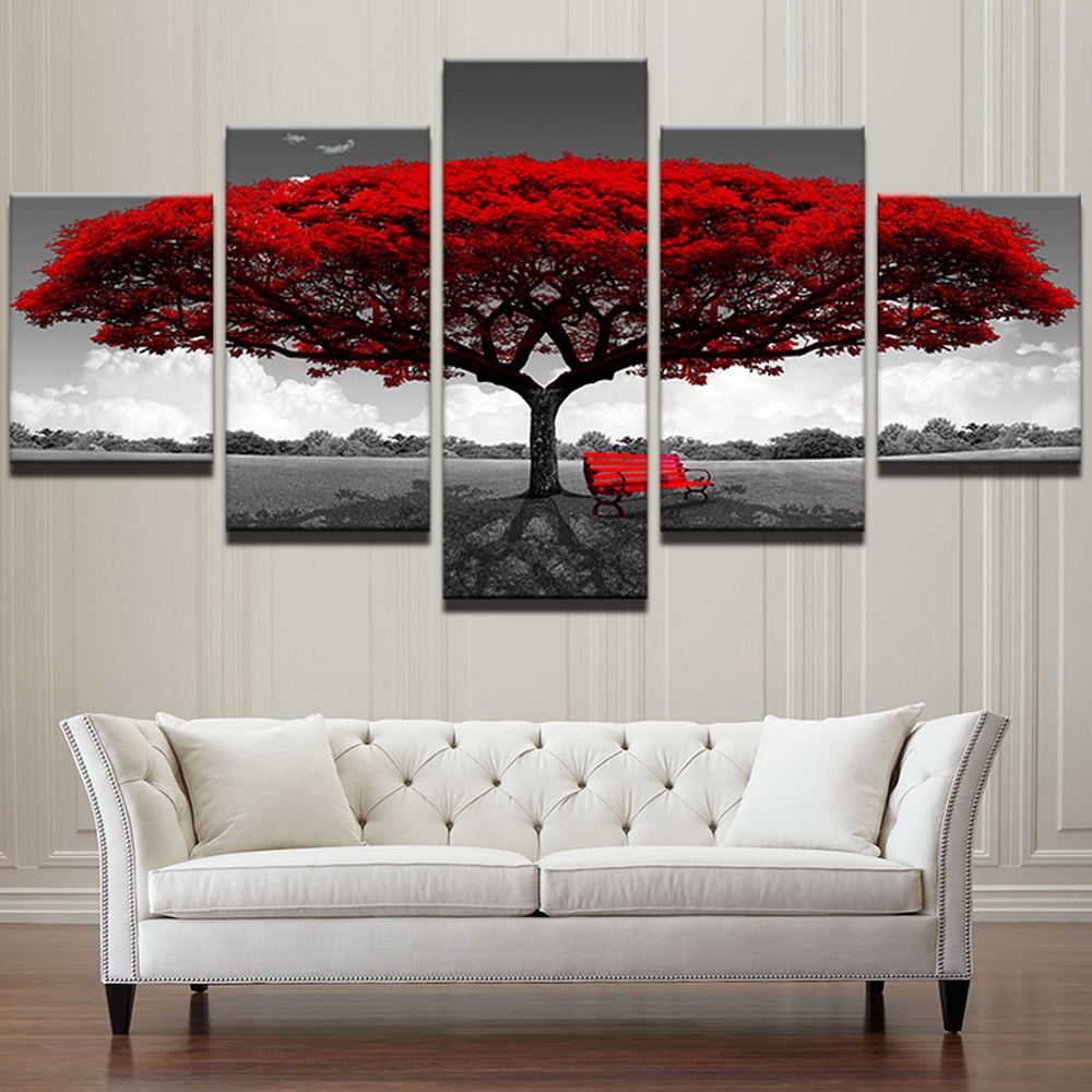 Manufacture Price Red tree 5 Piece HD Printed Canvas Modern landscape Wall Art Painting <strong>Pictures</strong> for Home Decor