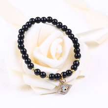 6mm Black Glass Beads Evil Eyes Bracelet