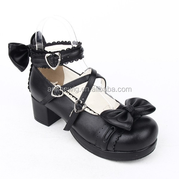 soled Lolita Black Bowknot Gothic Shoes Pumps Fashion Synthetic 2015 LL003 with Quality New Shoes leather Rubber High qn16Fxfv