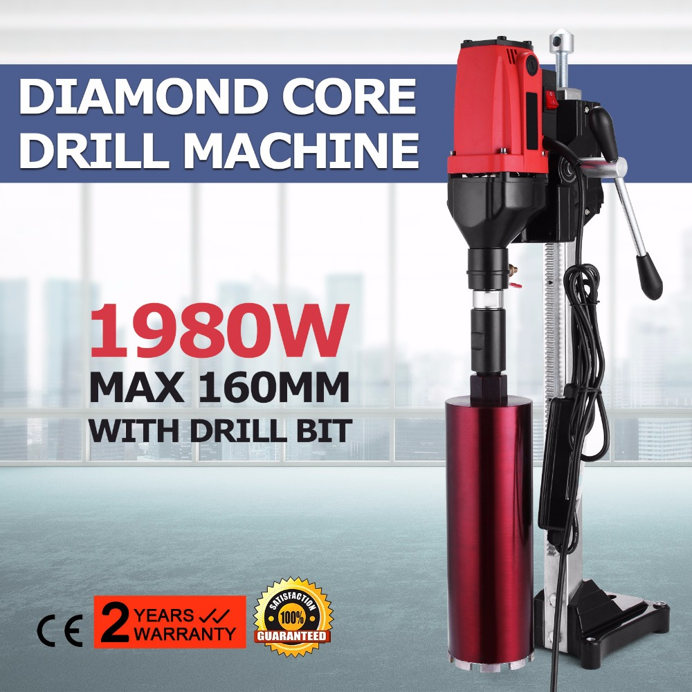 Diamond Core Drilling Machine 6 Inch 160mm Diamond Core with Stand and Wet Dry Core Drill Rig