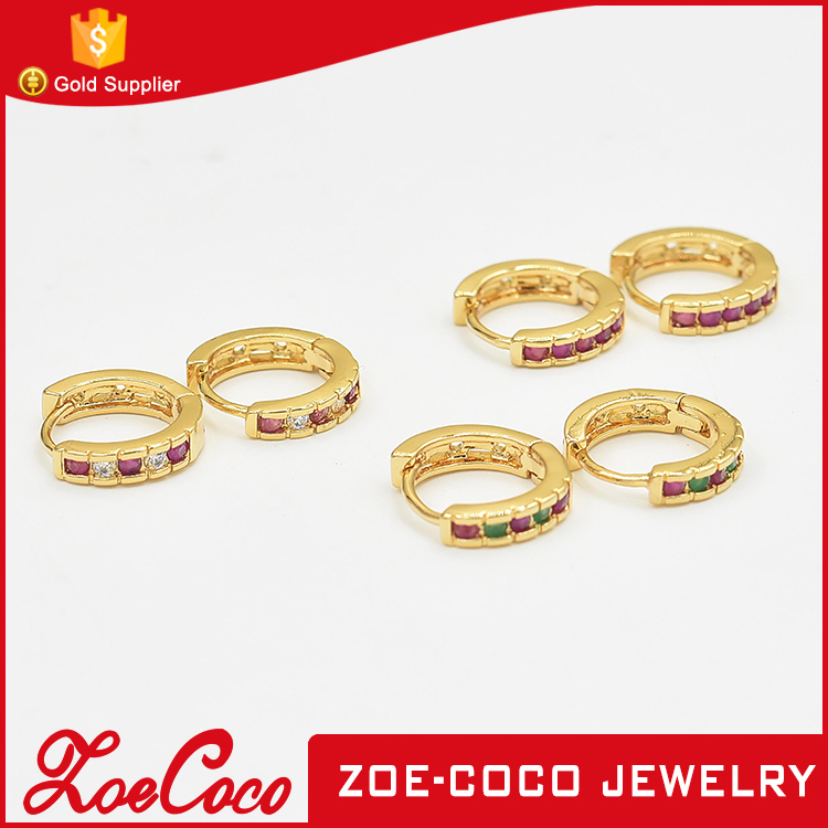 High quality cooper brass gold huggie hoop earring with crystals clip earring