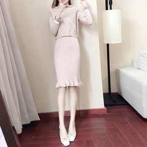 autumn spring casual women knitted two piece off shoulder sweater dress lady winter adult jumper pullovers vest skirt suit sets