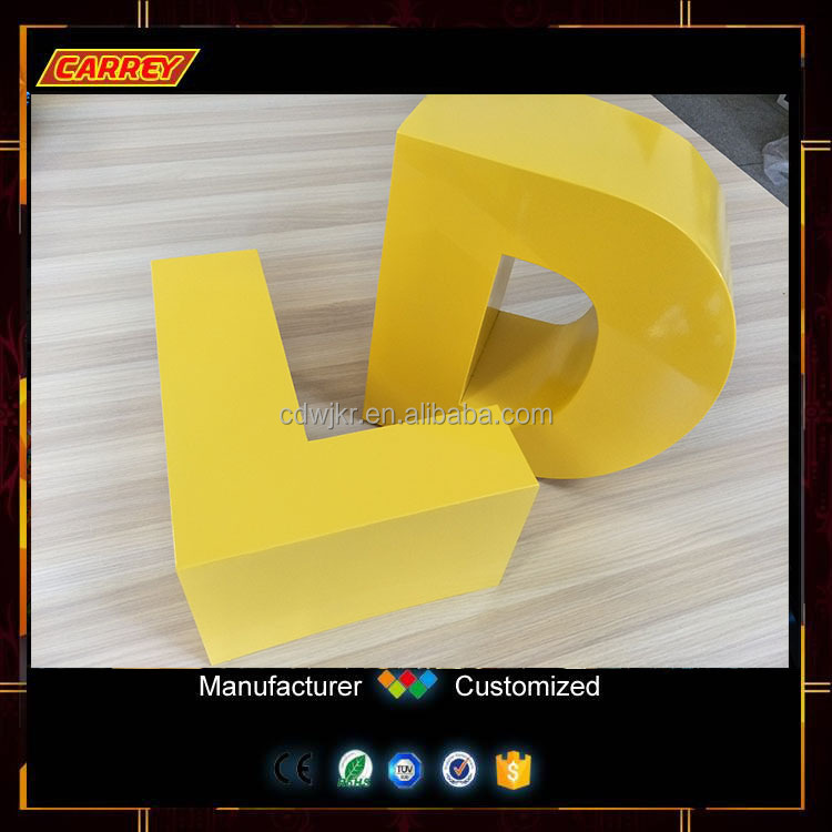 Yellow color painting 3d large metal alphabet letters