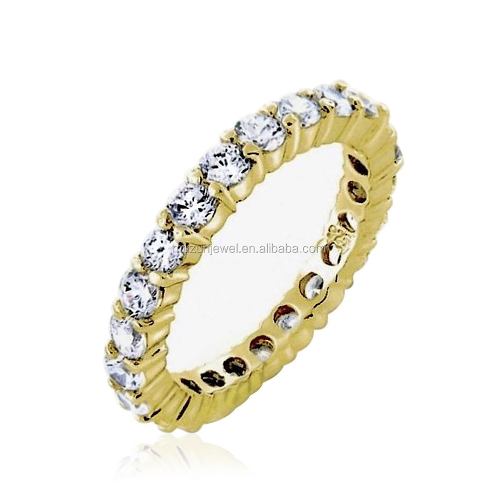 Genius 925 sterling silver gold plated cz vermeil classic pave wedding ring