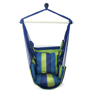 Indoor and Outdoor Cushioned Blue Hanging Rope Hammock Chair