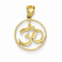 Sports Symbole Jewelry Wholesale, 14k Yellow Gold Round Frame Yoga Symbol Pendant
