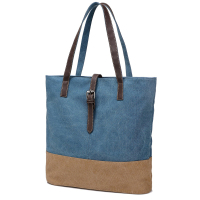 Popular Women's Canvas Shoulder Tote Hand Bag With PU Handle