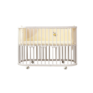 Final sale White Painted Convertible Design Modern Rounded Edges Baby Crib Wooden