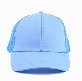 17bc922f cool custom your logo light blue plain blank girls baseball mesh trucker ponytail  cap