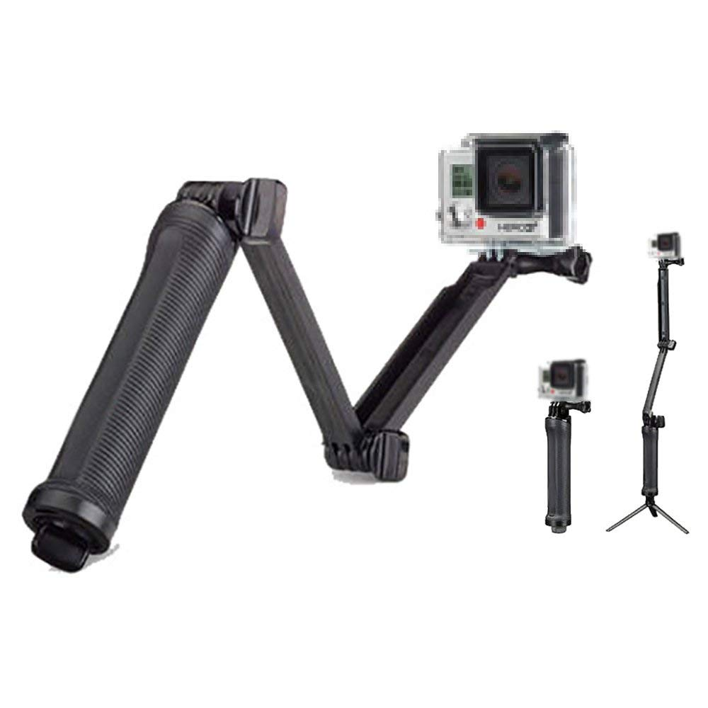 3 Way Selfie Stick for Gopro, ZIKO Replacement Foldable Arm Mount Monopod Tripod Extended Pole Holder 7.48 to 24.8 in with 1/4'' Screws Hole Hand Grip for GoPro Hero 6/5/5 Session/4 Session/4/3+/3/2/1