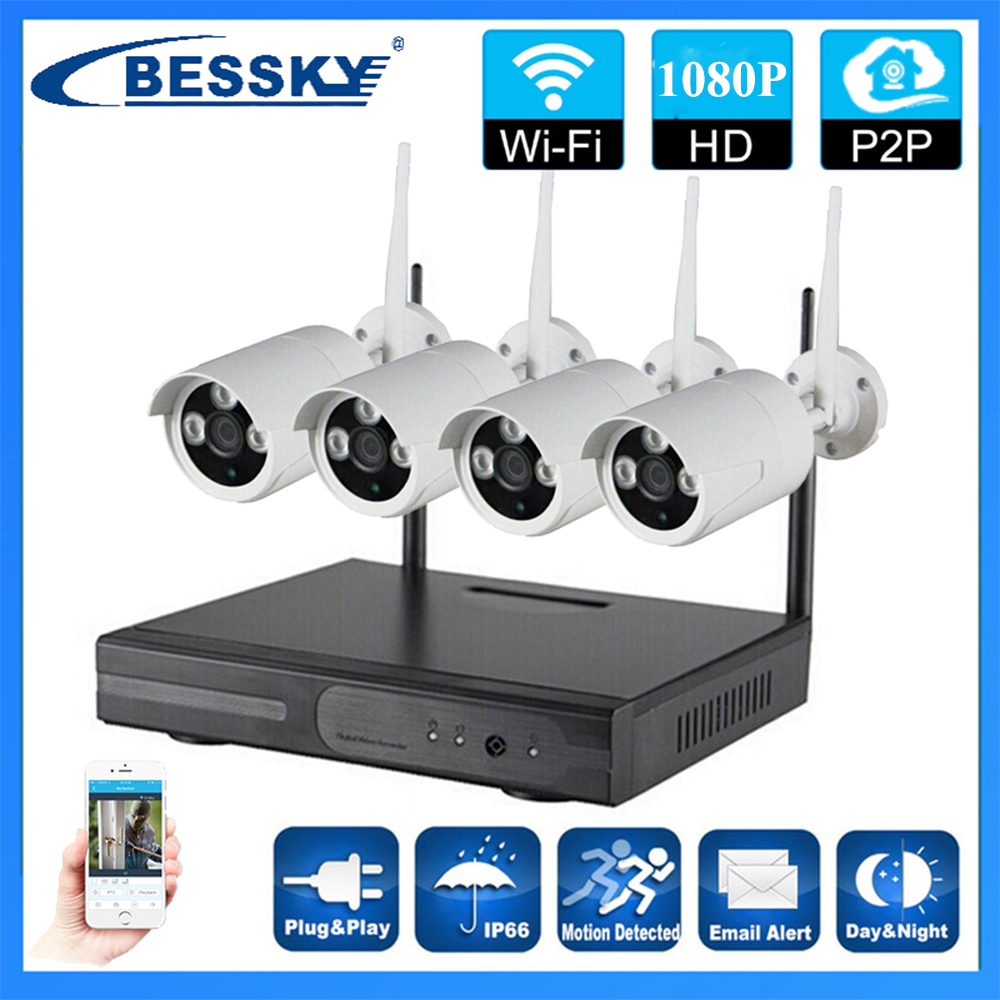 4ch wifi 1080P 2MP cctv Outdoor wireless security system wifi video security system cctv