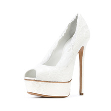 Elegant white lace peep toe high heel platform women dress shoes ladies wedding bridal shoes