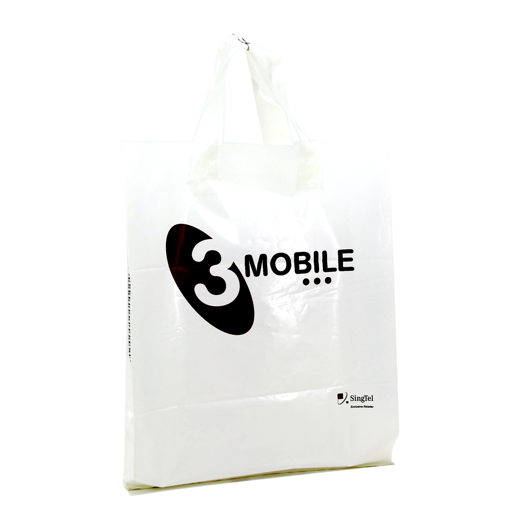 white biodegradable soft loop handle hdpe plastic bags