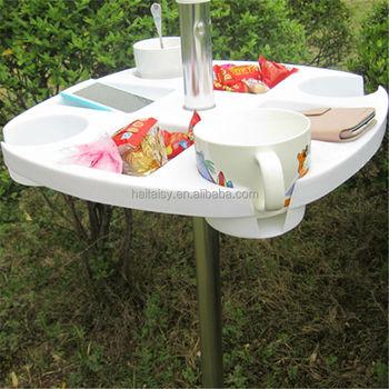 Adjustable Folding Plastic White Umbrella Picnic Table With Umbrella Hole, Beach  Umbrella Table