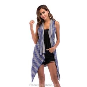 Wholesale new women's long knit cardigan ladies shawl coat sleeveless irregular shape cardigan