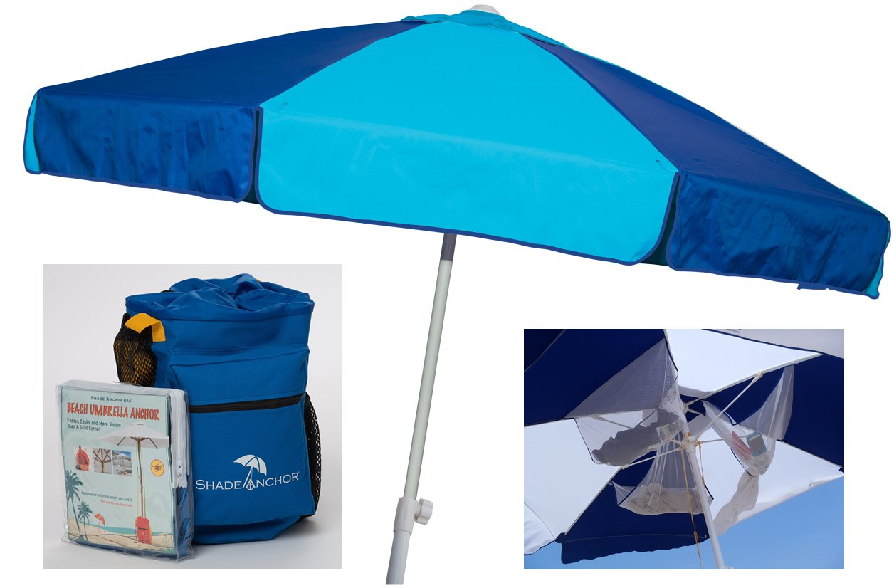 Get Quotations Beach Umbrella With Sand Anchor Base Included By Buoy Heavy Duty Upf 50