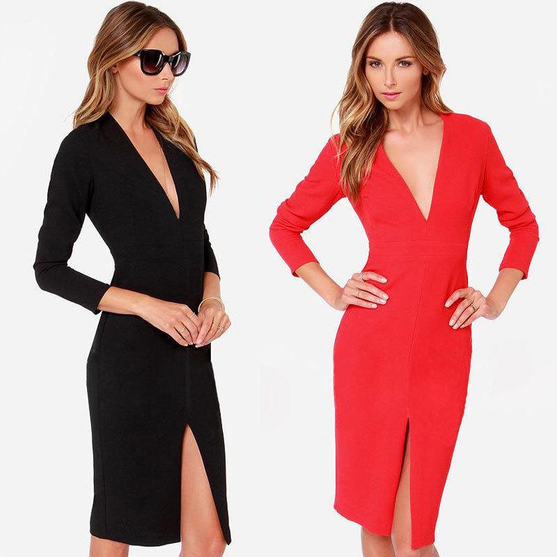 abfda45065 Get Quotations · Plus Size XXL Dress 2015 New Style Deep V-neck High Split  Sexy Dress Women