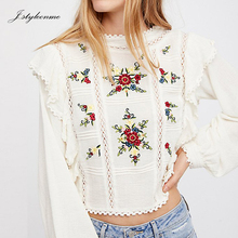 Latest Design Women Lace Long Sleeve Cotton Embroidered Crop Top White