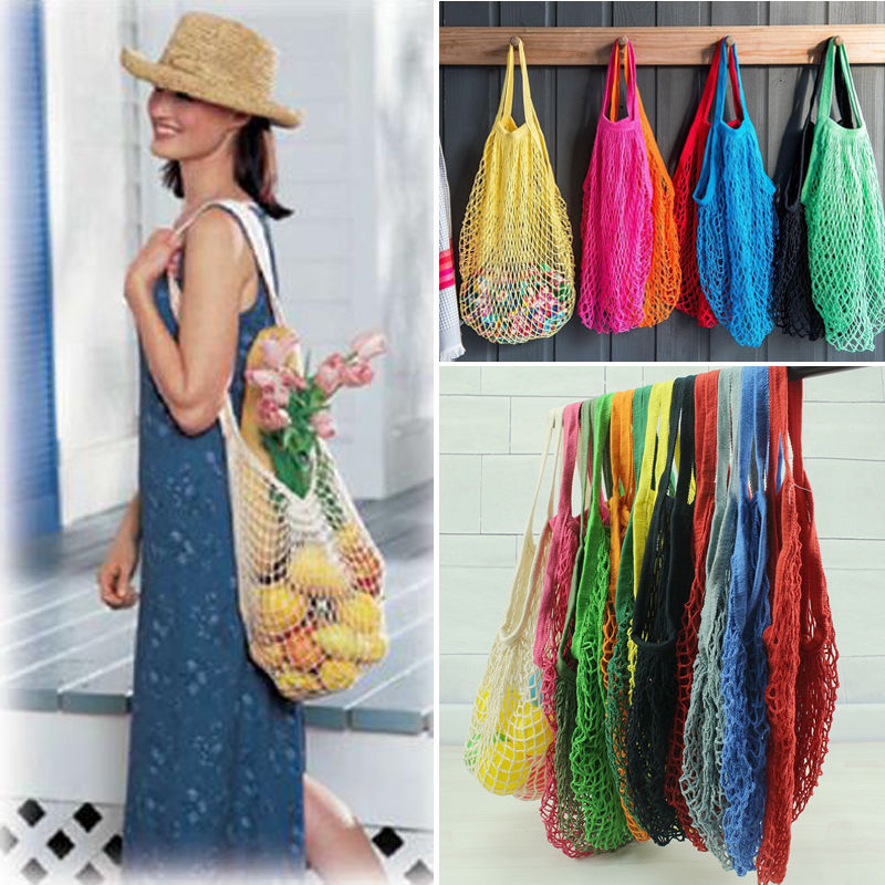 3-Pack Reusable Grocery Bags Mesh Beach Bag Cotton Net Shopping String Bags AD756