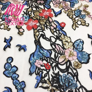 Nigao Hot design amazing quality fashionable sequin 3d embroidery design net fabric