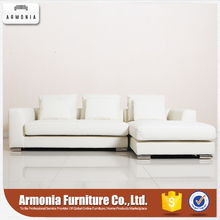 Modern living room soft design corner leather sectional sofa