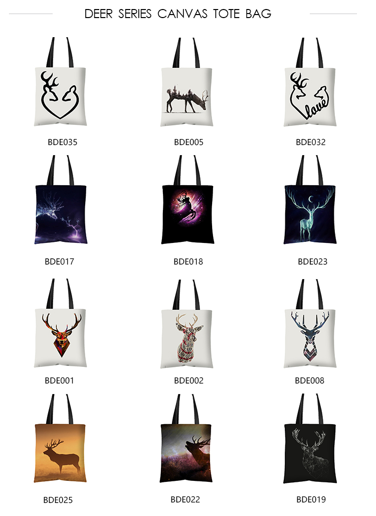 Custom Printed Eco Shopping Bag Canvas Material Cartoon Style Tote Bags