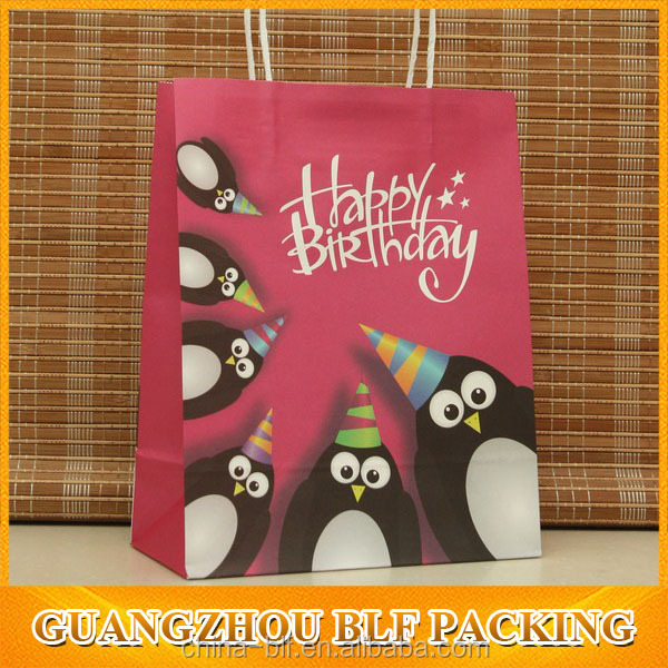 (BLF-PB735)Happy birthday paper bag for gift full color printing