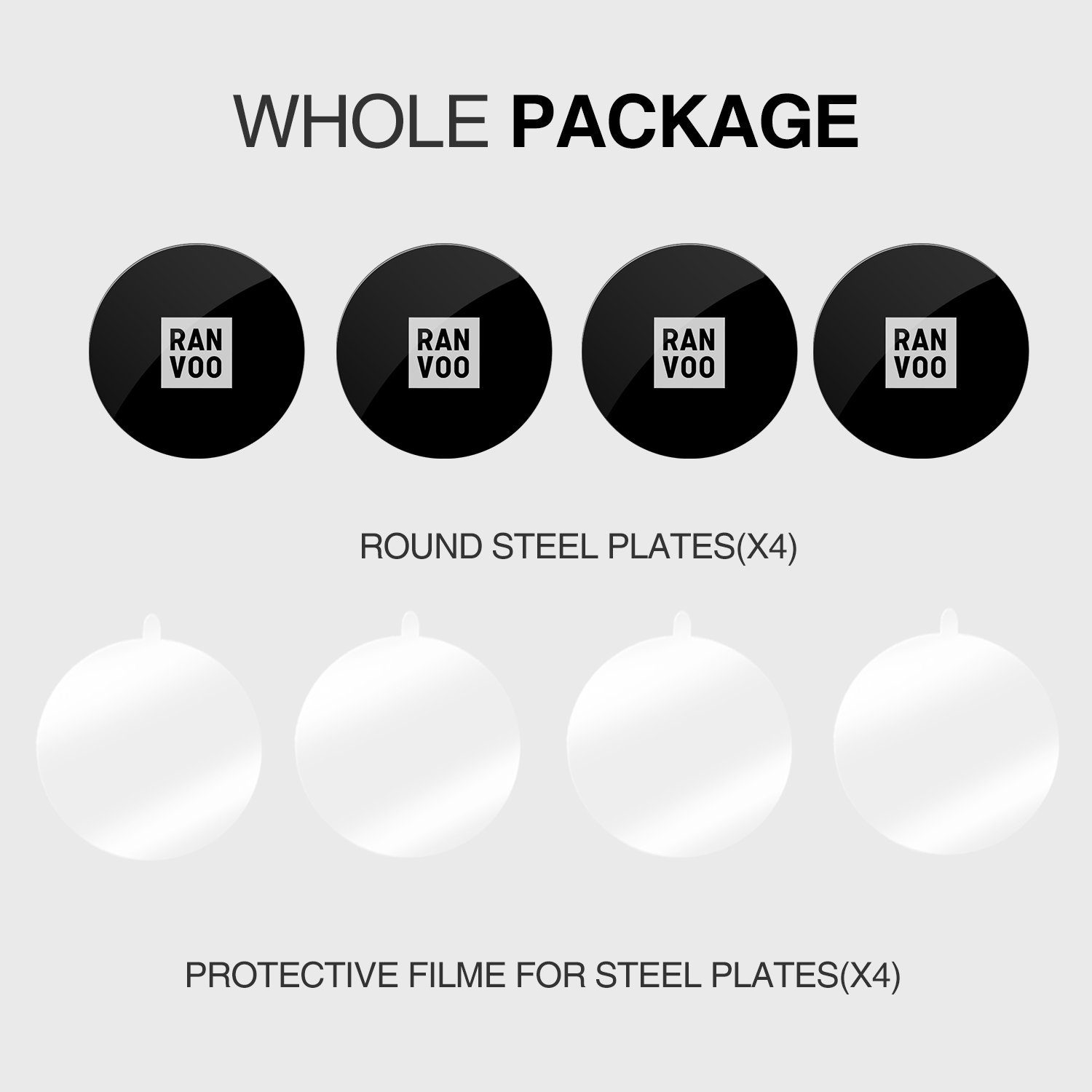 Relplacement Mount Metal Plate Kit, RANVOO Metal Plates for Magnetic Cradle-less Car Mount with 3M Adhesive - 4 Transparent Sticker & 4 Round Metal Plates (Compatible with RANVOO Magnetic Car Mounts)