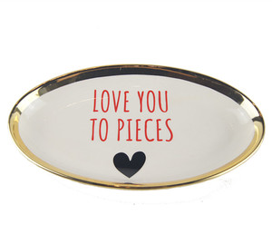 valentine's day elliptical cheap ceramic porcelain gold plates