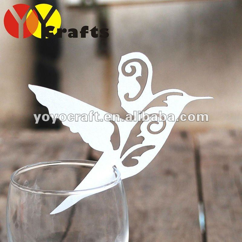 "Laser cut party favor personalized ""flying bird"" table place cards for wine glass with fast shipment from YOYO <strong>crafts</strong>"