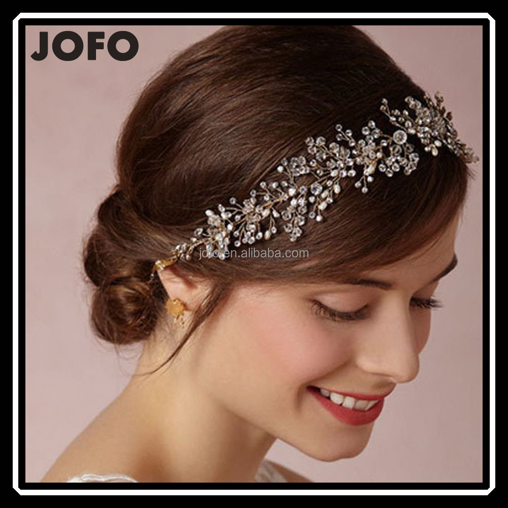 luxury handmade rhinestone pearl hair band new brand bridal hair