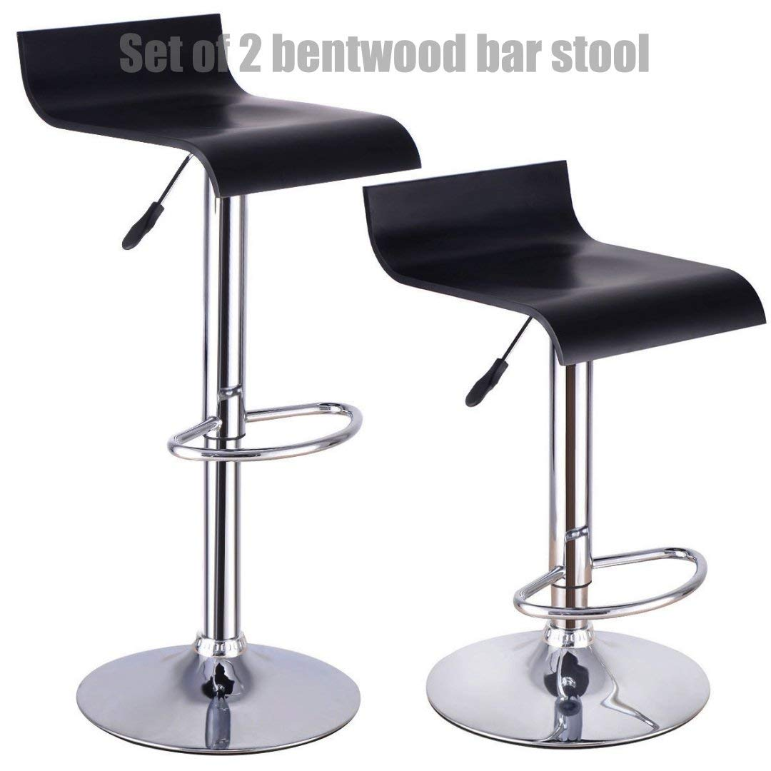 Contemporary Bentwood Bar stool Adjustable Height 360 Degree Swivel Solid Polished Wood Seat Stable Footrest Chrome Steel Frame Office Pub Chair New - Set of 2#1227