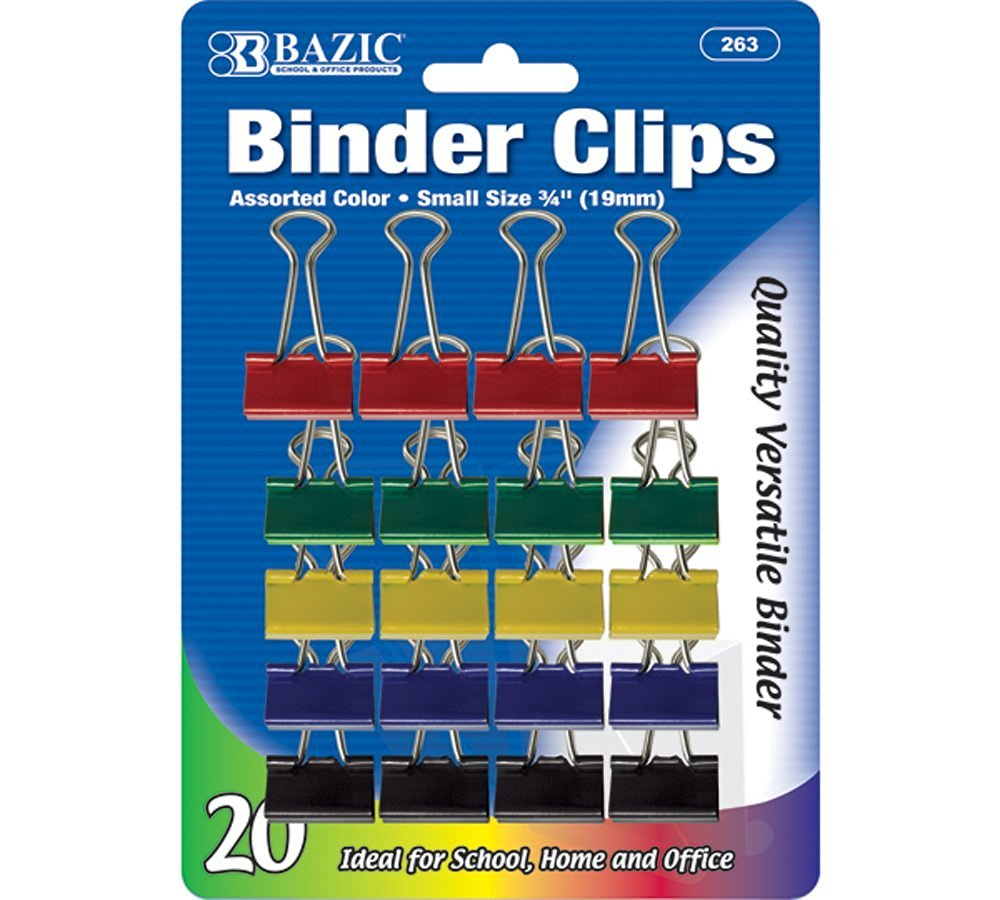 "BAZIC Small 3/4"" (19mm) Assorted Color Binder Clip (20/Pack) (Case of 12)"