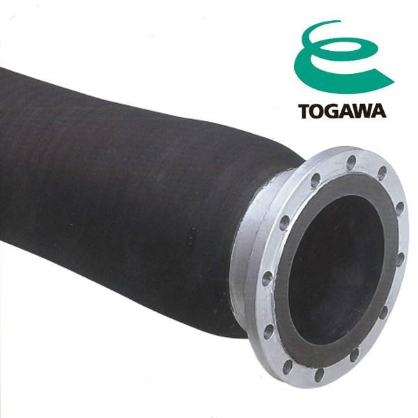 Delivery & suction hose for water, chemicals, abrasive materials, oil. Manufactured by Togawa Rubber. Made in Japan (latex hose)