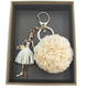 Wholesale high quality champagne color alloy rhinestone lace fabric cute girl hair ball keychain