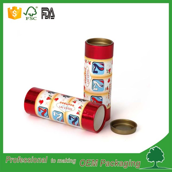 Food grade cardboard paper tube packaging for salts with metal lid wholesale in China