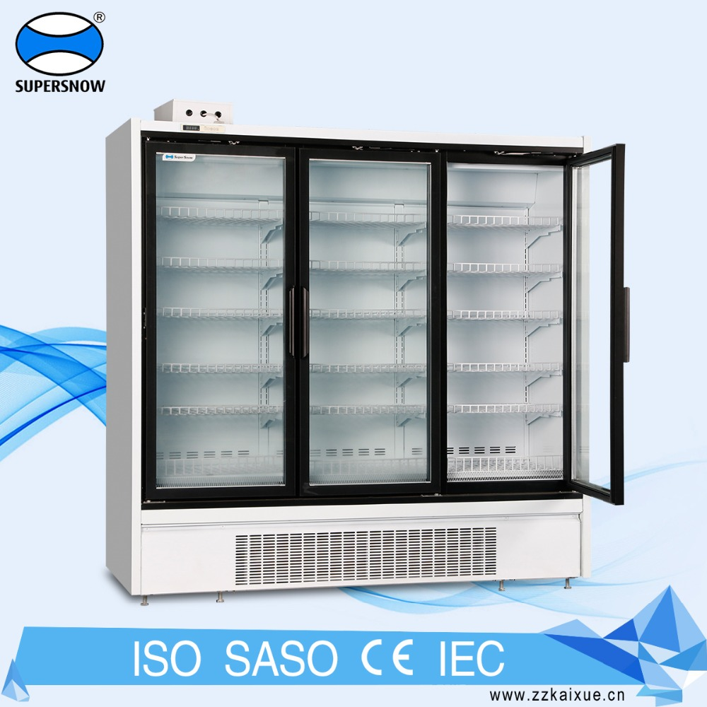 Upright Supermarket Used Double Transparent Glass Door Refrigerator