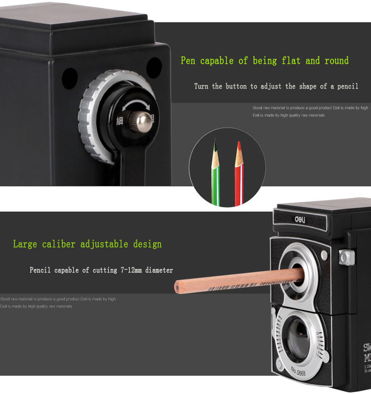 Retro camera fancy manual custom big hole black pencil sharpener mechanical creative hand heavy duty plastic pencil sharpener