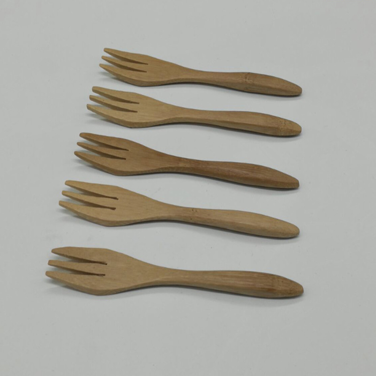 13CM bamboo fork bamboo fruit fork western food carbonized bamboo knife and fork small wooden spoon