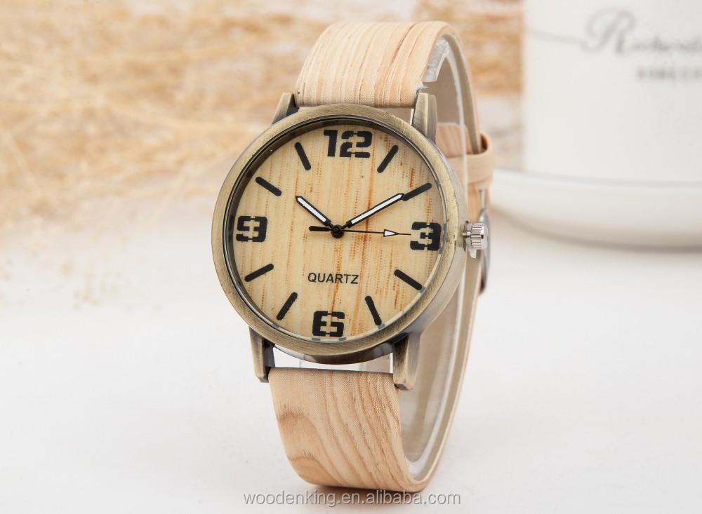 663bb40e233aa الرجال والنساء أزياء ماركة الساعات المخصصة جميع الاقتضاء جلد تقليد الخشب  الحبوب حزام ساعة