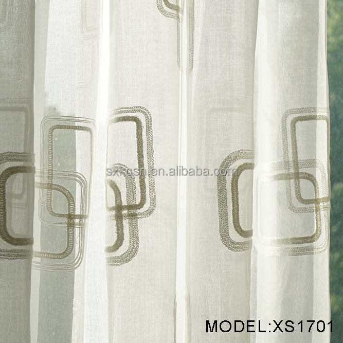 2017 Top sale elegant embroidery european style curtains sheer curtain