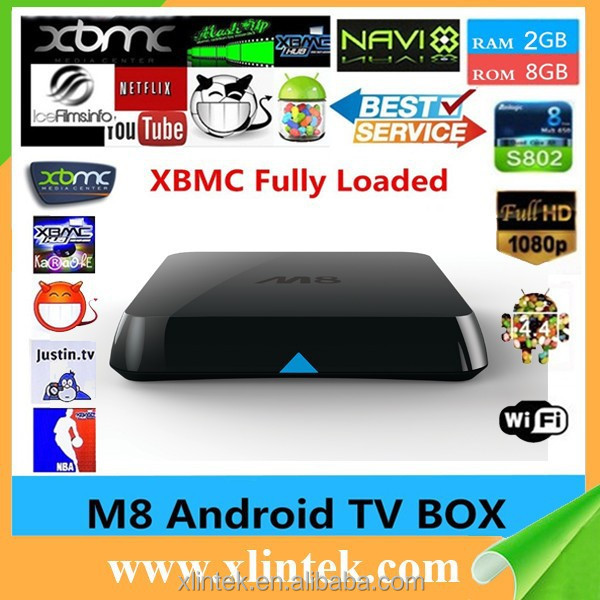 XBMC Fully Loaded M8N Amlogic S802 Android TV Box Quad Core 4K H265 2.4GHz 1080P Android 4.4 Wifi Mini PC Smart Media Player