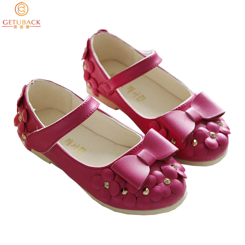 2015 Autumn Girls Flowers Leather Shoes Brand Kids Solid Princess Shoes with Bow Fashion Magic Stick Shoes for Children,RJ216