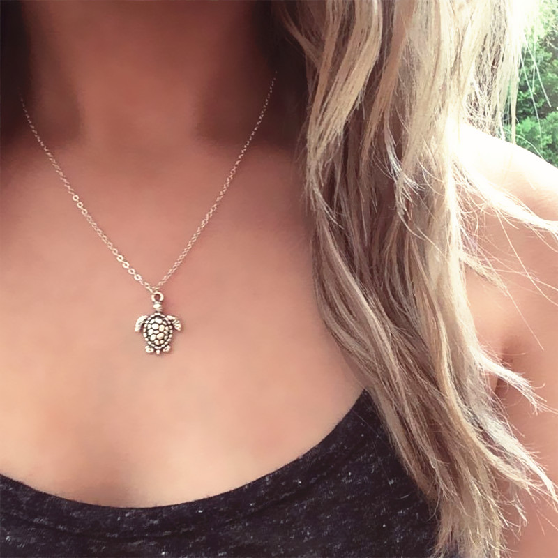 Turtle Necklace Silver Turtle Beach Choker Turtle Mermaid Jewelry Boho Holiday Necklace фото